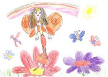 Child drawing fairy flying on a flower Royalty Free Stock Images