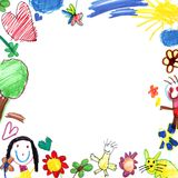 Child drawing frame white royalty free illustration