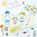 Child drawing future summer vacation Royalty Free Stock Photography