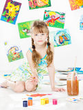 Child drawing with gouache color brush Stock Photos