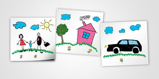 Child drawing of happy family. With the house and car Royalty Free Stock Photos