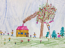Child drawing of a happy family. Child's drawing of a happy family living in the countryside. Original drawing of a 6 years old kid Stock Images
