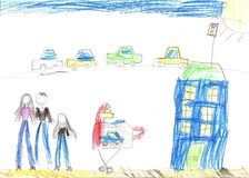 Child drawing happy family, building, car. Child drawing the lives of people in the city, building, car stock image