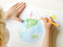 Child drawing happy family Stock Image