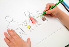 Child drawing happy family, metaphor for full family and happine Stock Image