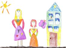 Child drawing a happy family for a walk. The image of the child drawing a happy family for a walk outdoors Stock Photo