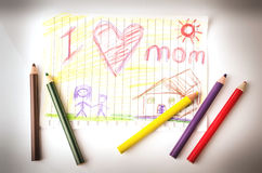 Child drawing of her mother for mother's day Royalty Free Stock Images