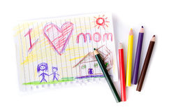 Child drawing of her mother for mother's day Royalty Free Stock Photo