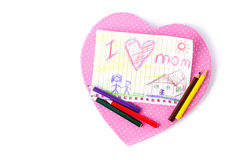 Child drawing of her mother for mother's day Stock Image