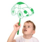 Child drawing his car, collage Stock Image