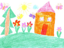 Child drawing of a house Stock Image
