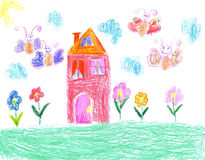 Child drawing of a house Stock Photography