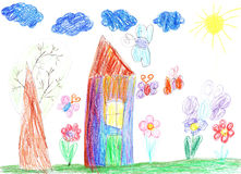 Child drawing of a house Stock Photo