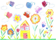 Child drawing of a house Royalty Free Stock Photos