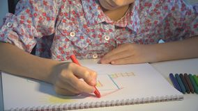 Child Drawing House, Kid Coloring, School Girl Making Craft, Children Education royalty free stock photo
