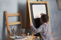 Child drawing house Stock Photography