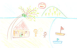Child drawing. Royalty Free Stock Photo
