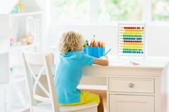 Child drawing. Kids paint. stock photo