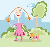 Child drawing. Of little girl with her dog Royalty Free Stock Images