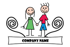 Child drawing logo. A logo that is done in a stick-figure child-drawing style, featuring a little girl and a little boy Stock Image