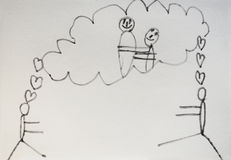 Child drawing of love royalty free stock photo