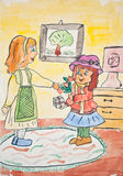 Child drawing of mother giving gift to daughter Royalty Free Stock Photos