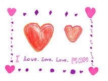 Child drawing mothers day Royalty Free Stock Photos