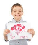 Child with drawing for mum. Isolated on white stock photos