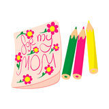 Child drawing of For my Mom picture cartoon icon Stock Images