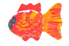 Child drawing paints – fish. The colourful red fish drawn with gouache the child of preschool age Stock Photo