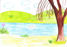 Child drawing of the paper boat Royalty Free Stock Photo
