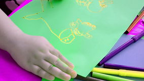 Child drawing on paper, stock video footage