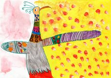 Child Drawing of Peacock Bird Stock Images