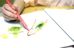 Child Drawing Pictures Stock Photo