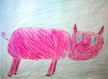 Child drawing - pink piggy Royalty Free Stock Photography