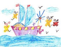 Child drawing ship in sea Royalty Free Stock Photography