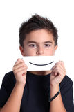 Child with drawing smile Stock Photos