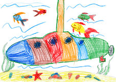 Child drawing. submarine and sea life Royalty Free Stock Photo