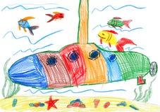 Child drawing. submarine and sea life Royalty Free Stock Photo