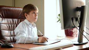 Child with drawing tablet Royalty Free Stock Photos