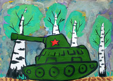 Child drawing tank war. Children`s drawing Russian tank with a red star in the war rides along the birches Stock Image