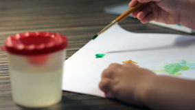 Child drawing top view. stock video footage