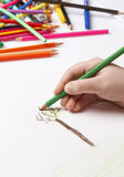 Child drawing tree Royalty Free Stock Photos