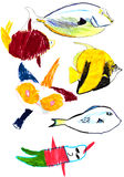 Child drawing - tropical fishes Royalty Free Stock Photos