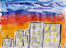 child drawing watercolor on paper, hand drawn art picture Royalty Free Stock Photos