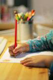 Child drawing and writing Stock Photos