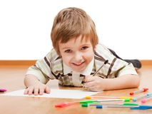 Child drawing or writing. Little child drawing painting or writing letter stock photos