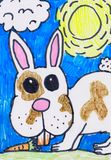 Child s drawing. Rabbit with a carrot. Children`s drawing rabbit in the garden with a carrot drawn markers.Bunny on the lawn on a Sunny day royalty free illustration