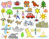 Child drawings. Set of editable vector illustrations of children's drawings Stock Photography