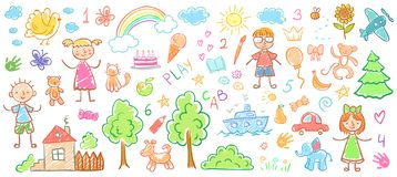 Free Child Drawings. Kids Doodle Paintings, Children Crayon Drawing And Hand Drawn Kid Vector Illustration Royalty Free Stock Photo - 135899265